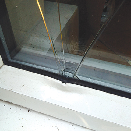 Broken double glazing